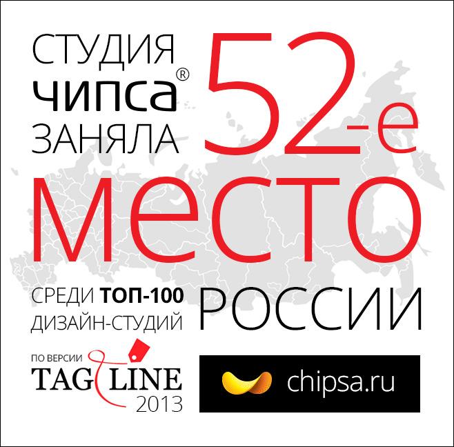 Студия «Чипса» на 52-ом месте в ТОП-100 дизайн-студий по версии Tagline
